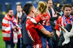 利昂,法国- 2018年5月16日, :与女儿celebrat的天使Correa 库存照片