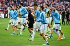 利昂,法国- 2018年5月16日, :足球运动员奥林匹克马赛t 免版税库存照片