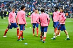 利昂,法国- 2018年5月16日, :足球运动员Atletico Ma训练  库存照片