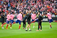利昂,法国- 2018年5月16日, :足球运动员Atletico Ma训练  免版税库存图片