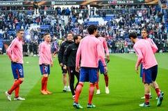 利昂,法国- 2018年5月16日, :足球运动员Atletico Ma训练  图库摄影