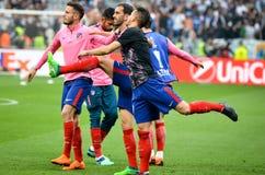 利昂,法国- 2018年5月16日, :足球运动员Atletico Ma训练  免版税库存照片