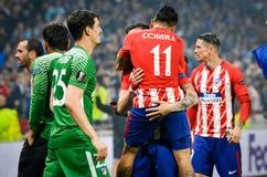利昂,法国- 2018年5月16日, :Athletico马德里球员和天使 免版税库存照片