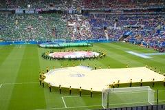 利昂,法国- 2016年6月16日:在乌克兰的UEFA欧洲比赛的前开幕式反对N的 爱尔兰 库存图片