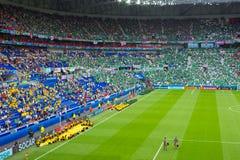 利昂,法国- 2016年6月16日:在乌克兰的UEFA欧洲比赛的前开幕式反对N的 爱尔兰 库存照片