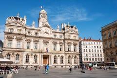 利昂,法国- 5月19 :在地方des Terreaux的香港大会堂 联合国科教文组织世界遗产名录 免版税图库摄影