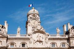 利昂,法国- 5月19 :香港大会堂屋顶在地方des Terreaux的 联合国科教文组织世界遗产名录 免版税图库摄影
