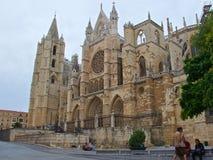 利昂,西班牙- 2018年9月:圣玛丽亚德利昂大教堂在利昂,西班牙奥尔德敦  库存图片