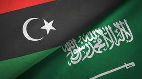 利比亚和沙特阿拉伯旗子纺织品布料 皇族释放例证