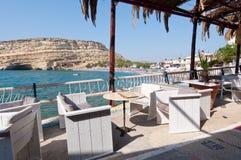 利比亚海和海岸在Matala附近在克利特海岛,希腊上 免版税图库摄影