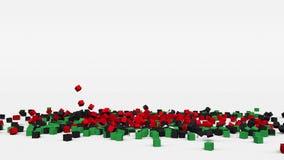利比亚的旗子从3d立方体创造了在慢动作 股票录像