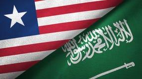 利比里亚和沙特阿拉伯旗子纺织品布料 向量例证