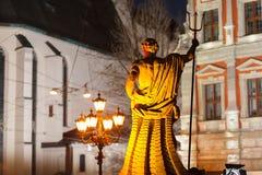 利沃夫州乌克兰- 2011年11月23日:海王星雕塑在集市广场的 图库摄影