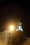 利沃夫州城镇厅在晚上 免版税库存图片
