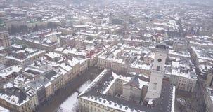 利沃夫州市的历史中心在冬天从上面 影视素材