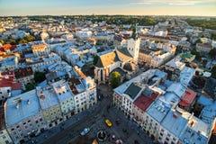 利沃夫州市,乌克兰顶视图  免版税库存图片