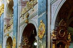 利沃夫州,乌克兰- 2017年10月16日:圣乔治的大教堂的内部,巴洛克式洛可可式大教堂在利沃夫州,乌克兰 库存照片