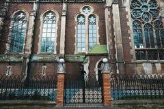 利沃夫州,乌克兰- 2018年2月4日:St伊丽莎白教会在冬天,巴洛克式和哥特式建筑的,在门的黑掠夺利沃夫州 免版税库存照片
