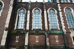 利沃夫州,乌克兰- 2018年2月4日:St伊丽莎白教会在冬天,巴洛克式和哥特式建筑的,大全景窗口利沃夫州 免版税库存照片