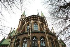 利沃夫州,乌克兰- 2018年2月4日:St伊丽莎白教会在冬天,巴洛克式和哥特式建筑的,后门,锋利的sp利沃夫州 免版税图库摄影