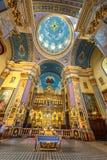 利沃夫州,乌克兰- 2016年9月09日:利沃夫州市教会内部 豪华金子Ornamen 免版税库存图片