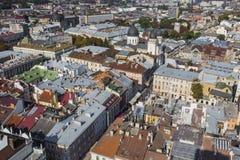 利沃夫州,乌克兰- 2016年10月02日:利沃夫州市从上面 中央 免版税图库摄影
