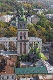 利沃夫州,乌克兰- 2016年10月02日:利沃夫州市从上面 中央 免版税库存图片