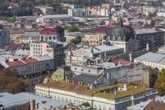 利沃夫州,乌克兰- 2016年10月02日:利沃夫州市从上面 中央 库存图片