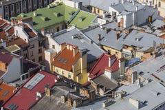 利沃夫州,乌克兰- 2016年10月02日:利沃夫州市从上面 中央 免版税库存照片