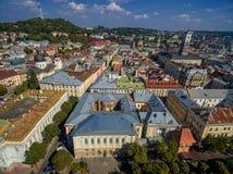 利沃夫州,乌克兰- 2016年9月08日:利沃夫州街市与博物馆教会和纪念碑 库存照片
