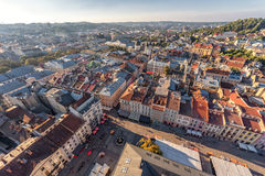 利沃夫州,乌克兰- 2016年9月08日:利沃夫州都市风景和日落 免版税库存照片