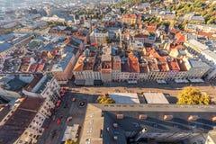 利沃夫州,乌克兰- 2016年9月08日:利沃夫州都市风景和日落 库存图片