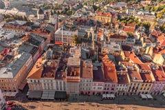 利沃夫州,乌克兰- 2016年9月08日:利沃夫州都市风景和日落 免版税库存图片