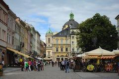 利沃夫州,乌克兰- 2015年6月18日:利沃夫州都市风景 中央的看法 免版税库存照片
