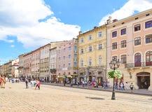 利沃夫州,乌克兰- 2017年7月14日:利沃夫州都市风景  免版税库存图片