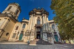 利沃夫州,乌克兰- 2016年11月09日:利沃夫州Citycape圣餐的教会教会 库存照片