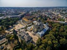 利沃夫州,乌克兰- 2016年9月12日:圣乔治' s大教堂 有洛可可式的黄色门面的希腊天主教徒18世纪大教堂 免版税库存照片