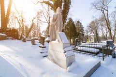 利沃夫州,乌克兰- 2017年2月14日:在坟墓的老雕象在利沃夫州,乌克兰Lychakivskyj公墓  正式状态历史和崇拜 免版税库存图片