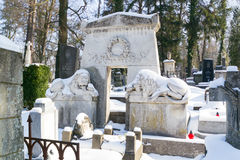 利沃夫州,乌克兰- 2017年2月14日:在坟墓的老雕象在利沃夫州,乌克兰Lychakivskyj公墓  正式状态历史和崇拜 图库摄影