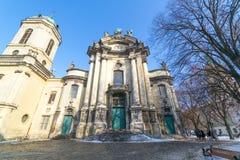 利沃夫州,乌克兰- 2017年2月14日:多米尼加共和国的教会和修道院在利沃夫州,乌克兰位于城市` s老镇,今天服务 库存照片
