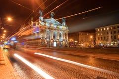 利沃夫州,乌克兰- 2016年9月09日:以Solomiya和芭蕾命名的红绿灯和利沃夫州全国学术剧院歌剧Krus 免版税库存照片