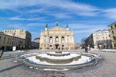 利沃夫州,乌克兰- 2017年2月14日:Solomiya Krushelnytska状态学术歌剧和芭蕾舞团 维也纳新新生样式 免版税库存图片