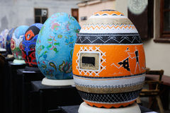 利沃夫州,乌克兰- 4月04 :在节日o的大假复活节彩蛋 库存照片