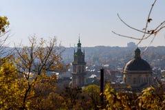 利沃夫州, UNESCO& x27的历史中心的鸟瞰图; s文化遗产 免版税库存照片