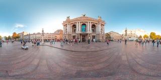 利沃夫州-夏天2018年:3D有360度视角的球状全景 为在vr的虚拟现实准备 充分的equirectangular PR 图库摄影