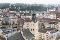 利沃夫州arcitecture鸟瞰图  免版税图库摄影