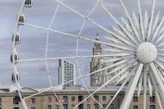 利物浦都市风景-利物浦肝脏大厦和利物浦眼睛 免版税库存照片