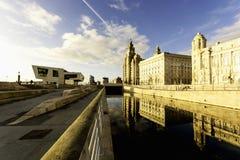 利物浦都市风景- Pierhead反射 库存图片