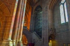 利物浦,英国- 2015年4月03日-利物浦大教堂内部看法  图库摄影