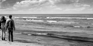 利耶卢佩河海滩海岸线在Jurmala,拉脱维亚 免版税库存图片